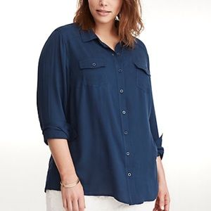 Torrid shadow stripe teal blue button front top